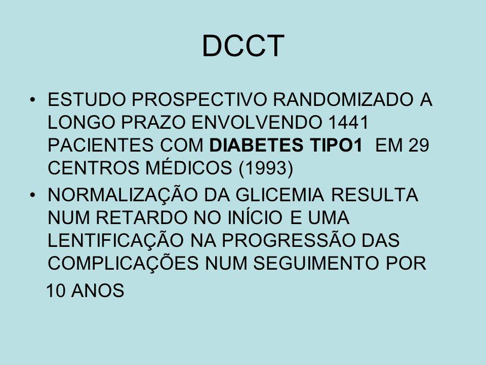 DCCT ESTUDO PROSPECTIVO RANDOMIZADO A LONGO PRAZO ENVOLVENDO 1441 PACIENTES COM DIABETES TIPO1 EM 29 CENTROS MÉDICOS (1993)