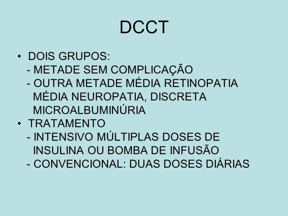 DCCT DOIS GRUPOS: - METADE SEM COMPLICAÇÃO