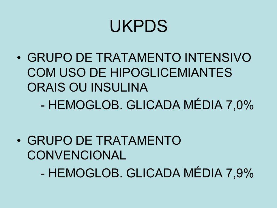 UKPDS GRUPO DE TRATAMENTO INTENSIVO COM USO DE HIPOGLICEMIANTES ORAIS OU INSULINA. - HEMOGLOB. GLICADA MÉDIA 7,0%