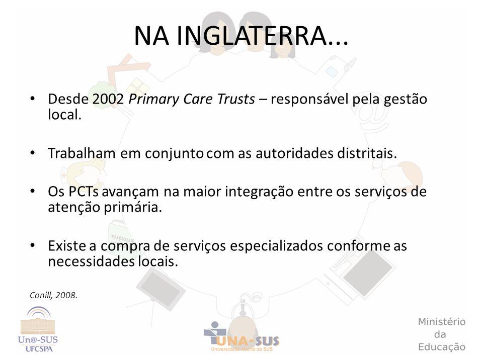 NA INGLATERRA... Desde 2002 Primary Care Trusts – responsável pela gestão local. Trabalham em conjunto com as autoridades distritais.