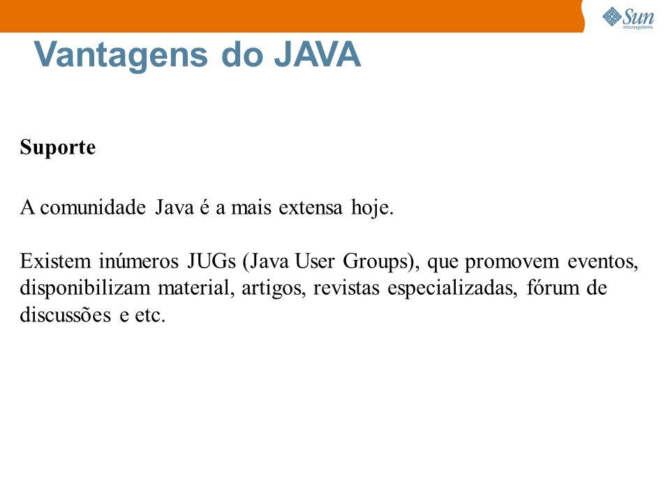 Vantagens do JAVA Suporte A comunidade Java é a mais extensa hoje.