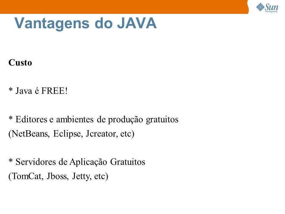 Vantagens do JAVA Custo * Java é FREE!