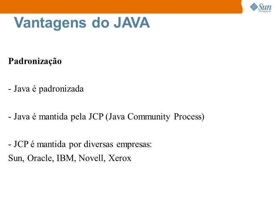 Vantagens do JAVA Padronização - Java é padronizada