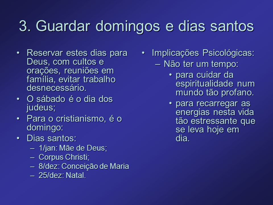 3. Guardar domingos e dias santos