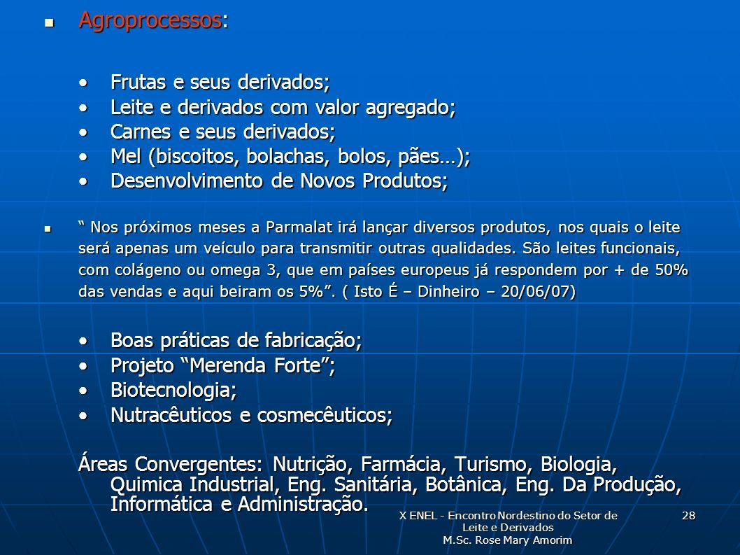Agroprocessos: Frutas e seus derivados;