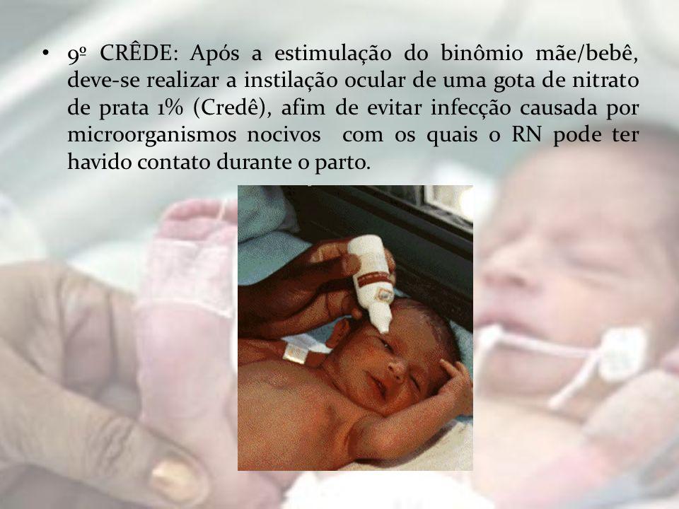 9º CRÊDE: Após a estimulação do binômio mãe/bebê, deve-se realizar a instilação ocular de uma gota de nitrato de prata 1% (Credê), afim de evitar infecção causada por microorganismos nocivos com os quais o RN pode ter havido contato durante o parto.