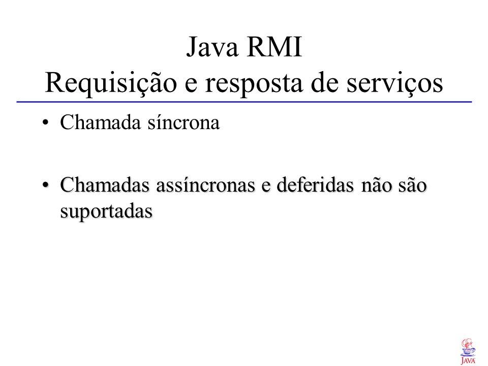 Java RMI Requisição e resposta de serviços