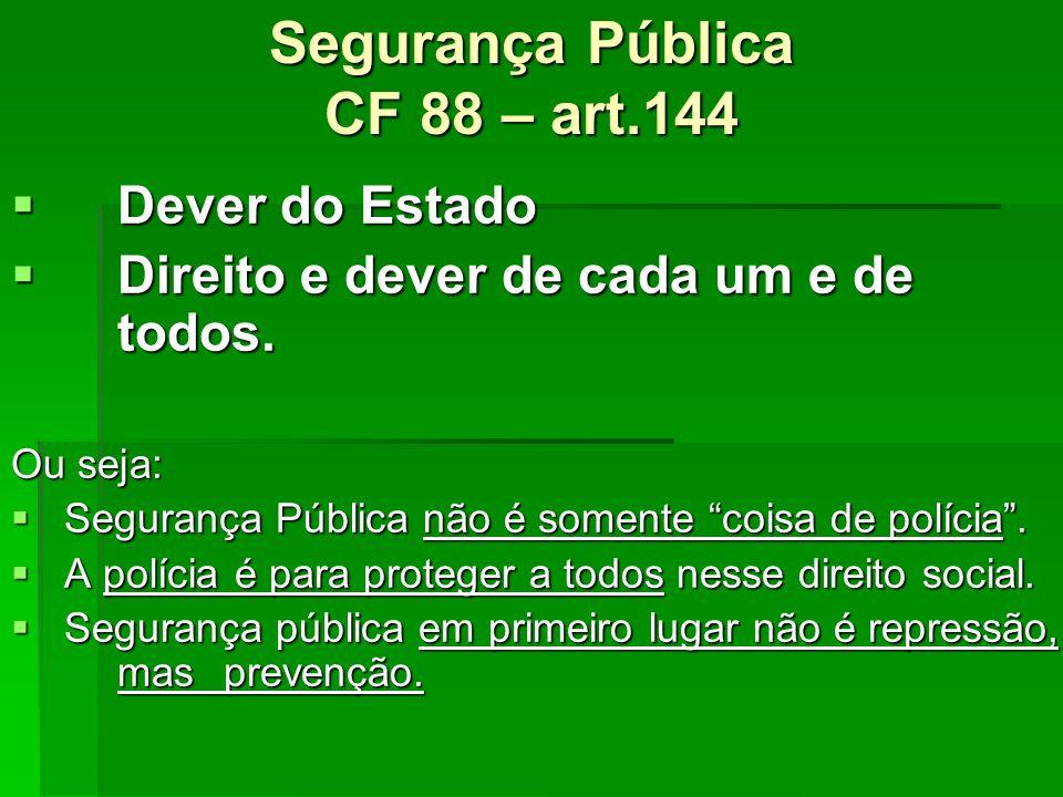 Segurança Pública CF 88 – art.144