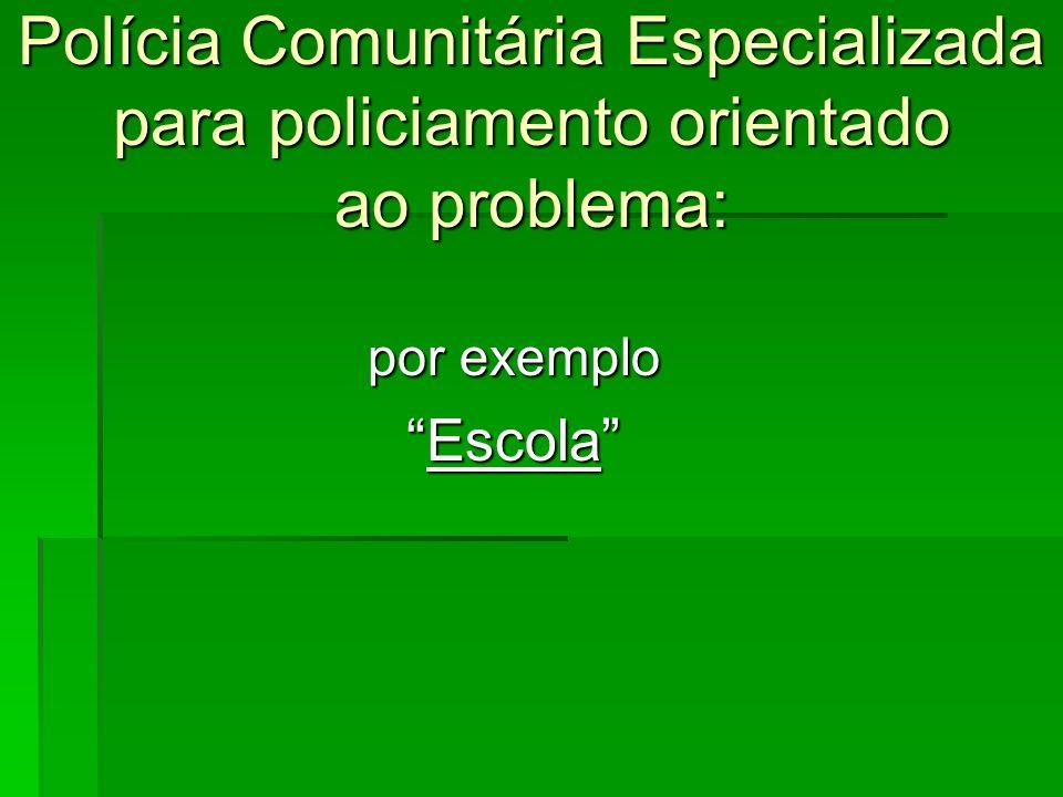 Polícia Comunitária Especializada para policiamento orientado ao problema: