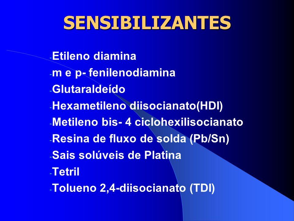 SENSIBILIZANTES Etileno diamina m e p- fenilenodiamina Glutaraldeído