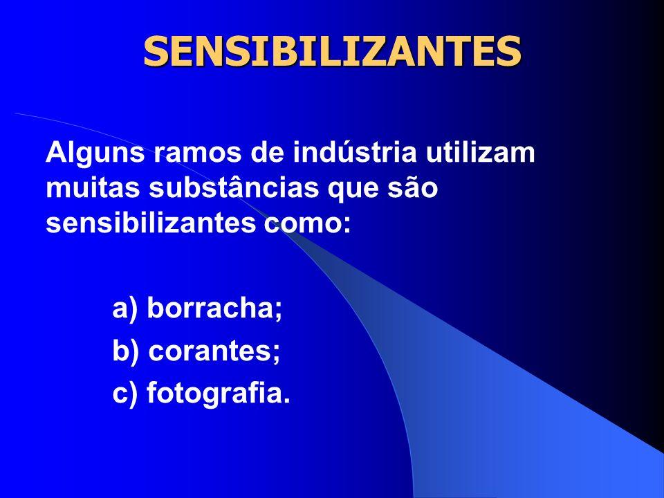 SENSIBILIZANTES Alguns ramos de indústria utilizam muitas substâncias que são sensibilizantes como: