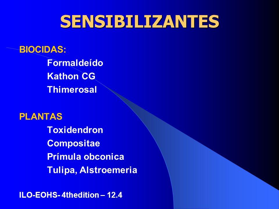SENSIBILIZANTES BIOCIDAS: Formaldeído Kathon CG Thimerosal PLANTAS