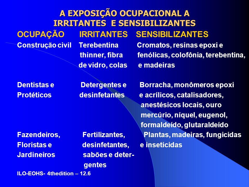 A EXPOSIÇÃO OCUPACIONAL A IRRITANTES E SENSIBILIZANTES