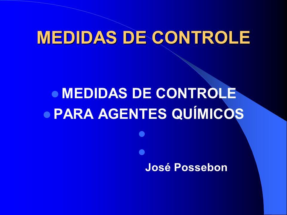 MEDIDAS DE CONTROLE MEDIDAS DE CONTROLE PARA AGENTES QUÍMICOS