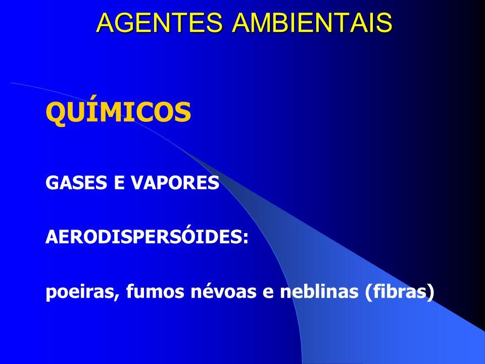 AGENTES AMBIENTAIS QUÍMICOS GASES E VAPORES AERODISPERSÓIDES: