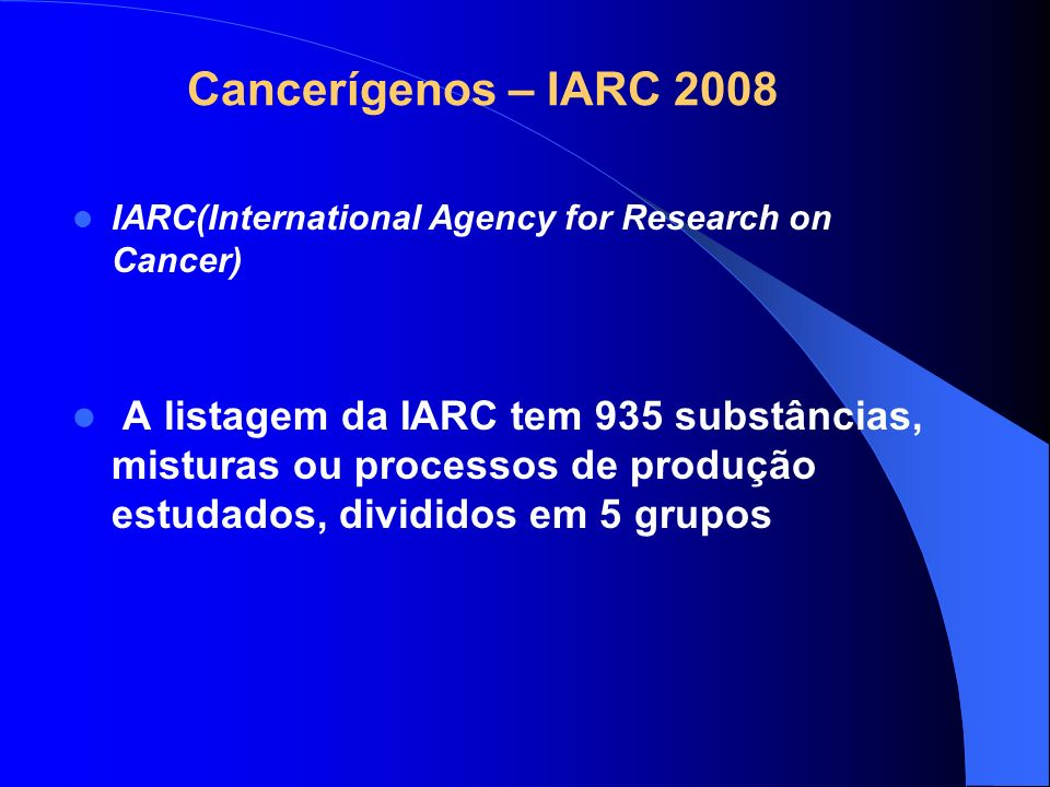 Cancerígenos – IARC 2008 IARC(International Agency for Research on Cancer)