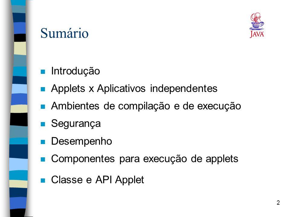 Sumário Introdução Applets x Aplicativos independentes
