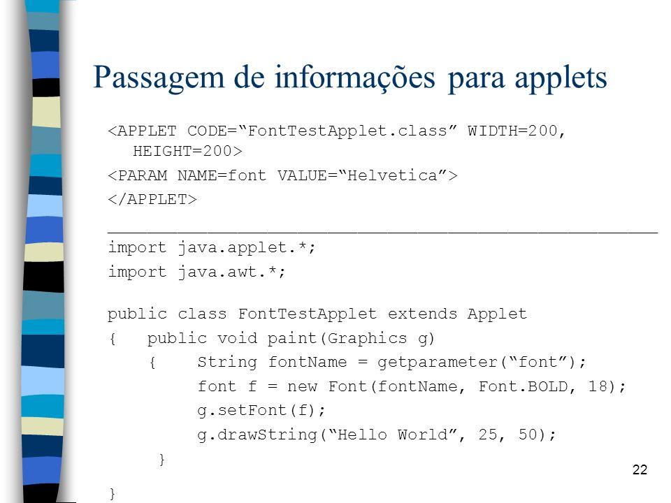 Passagem de informações para applets