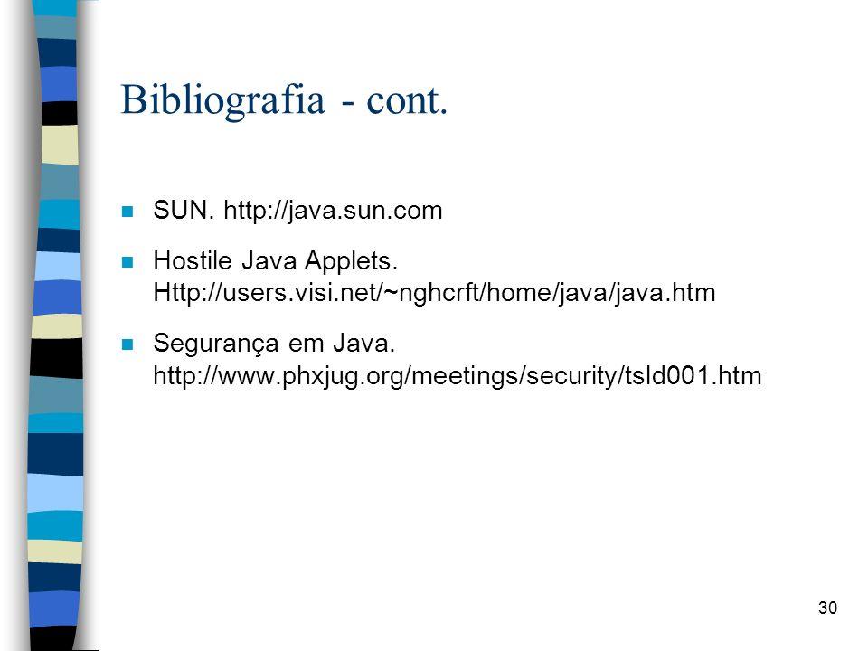 Bibliografia - cont. SUN. http://java.sun.com