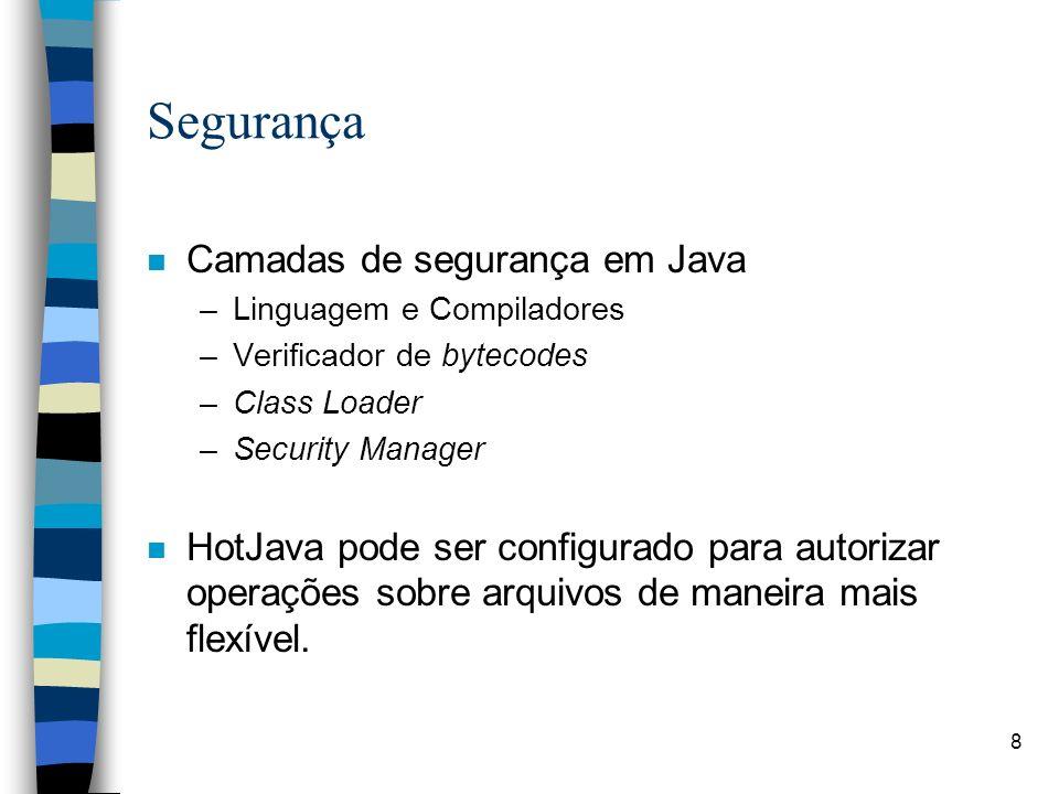 Segurança Camadas de segurança em Java
