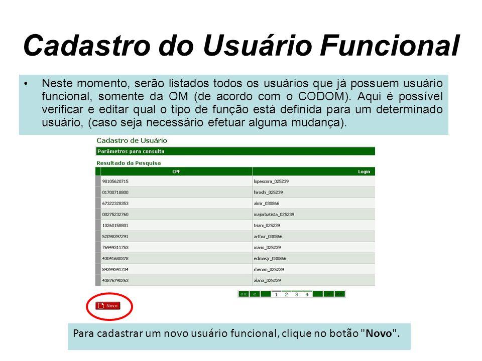Cadastro do Usuário Funcional