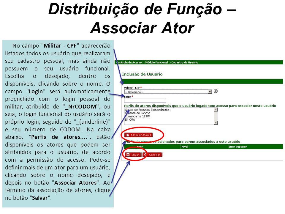 Distribuição de Função – Associar Ator