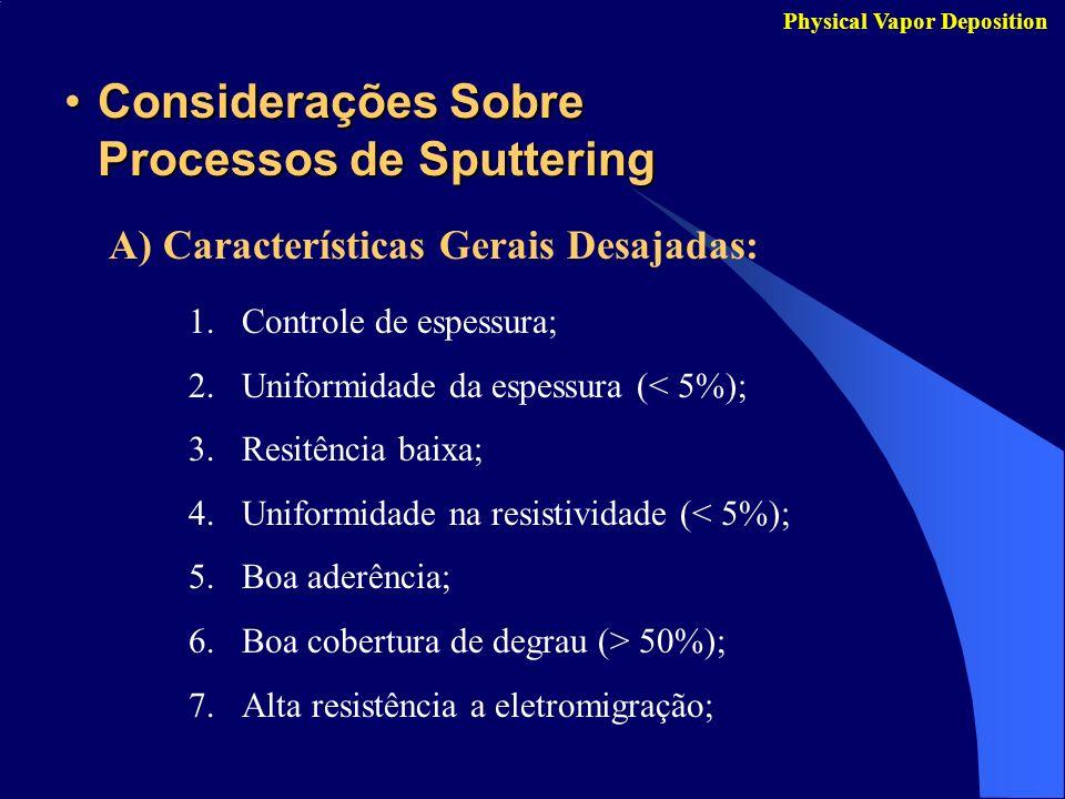 Considerações Sobre Processos de Sputtering