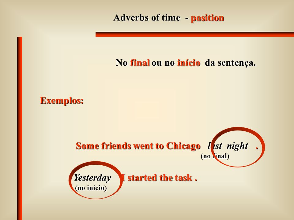 Adverbs of time - position