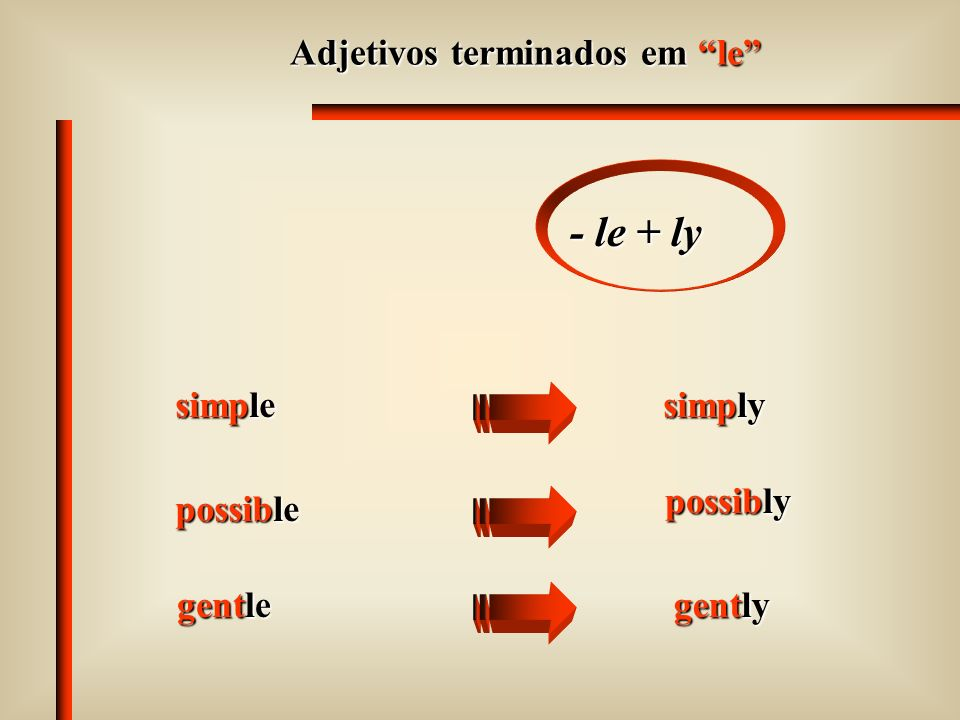 - le + ly Adjetivos terminados em le simple simply possibly possible