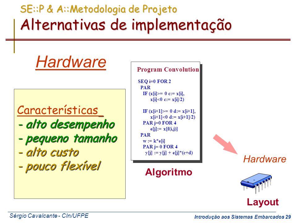 SE::P & A::Metodologia de Projeto Alternativas de implementação