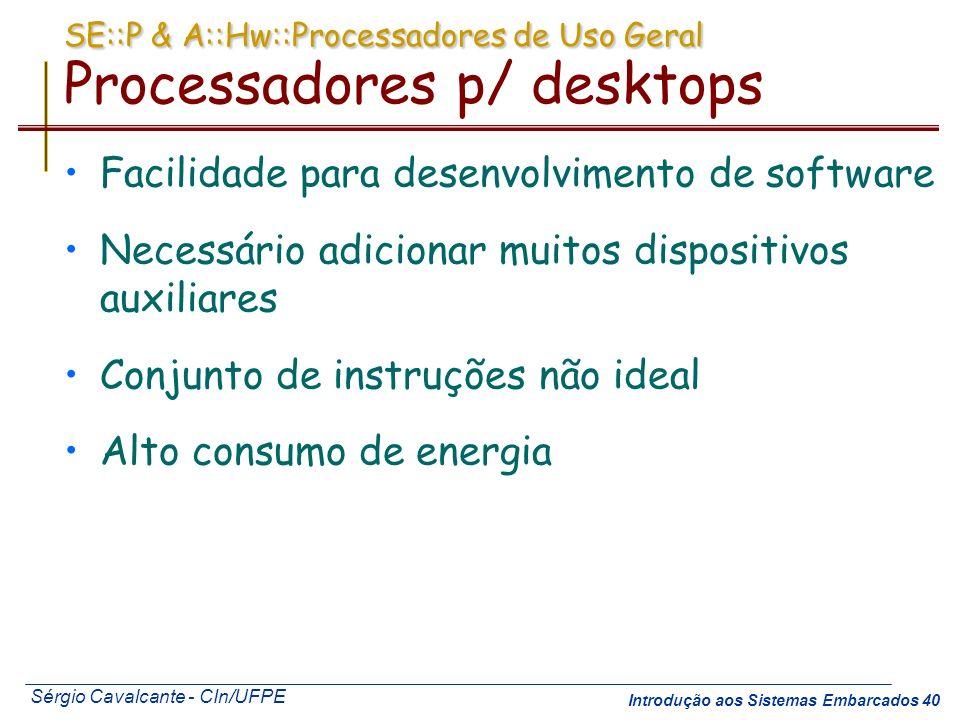 SE::P & A::Hw::Processadores de Uso Geral Processadores p/ desktops