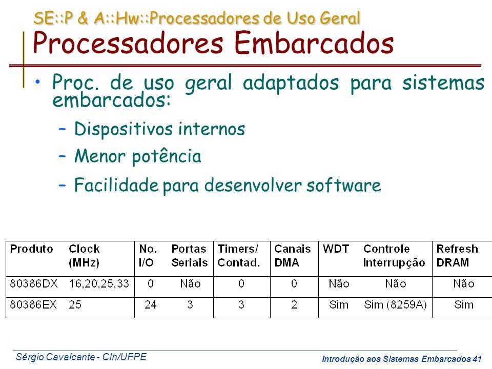 SE::P & A::Hw::Processadores de Uso Geral Processadores Embarcados