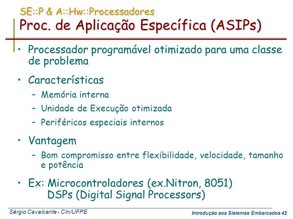 SE::P & A::Hw::Processadores Proc. de Aplicação Específica (ASIPs)
