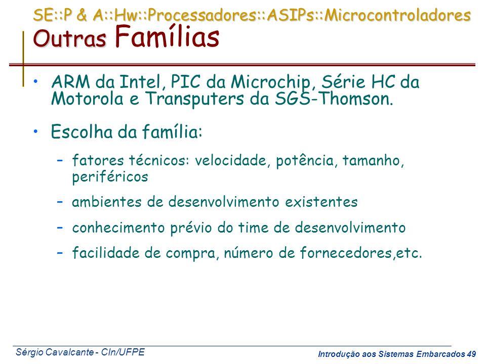 SE::P & A::Hw::Processadores::ASIPs::Microcontroladores Outras Famílias