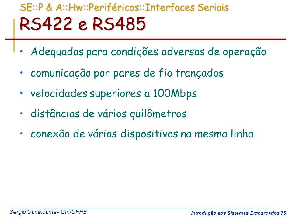 SE::P & A::Hw::Periféricos::Interfaces Seriais RS422 e RS485