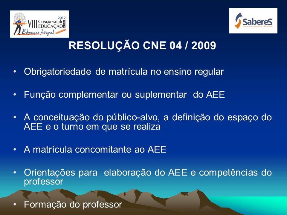 RESOLUÇÃO CNE 04 / 2009 Obrigatoriedade de matrícula no ensino regular