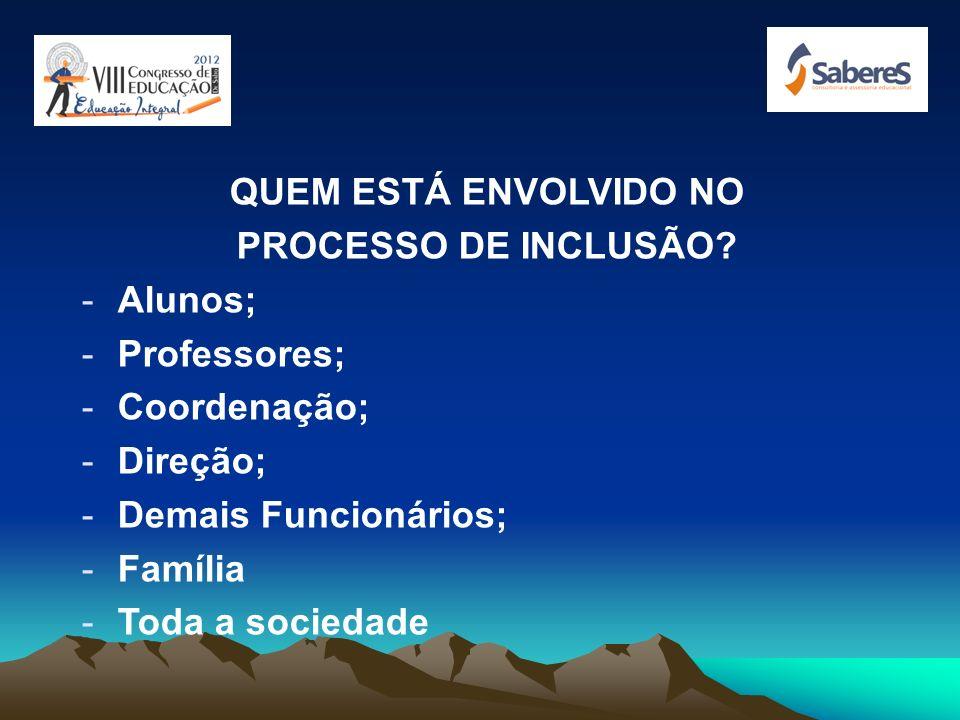 QUEM ESTÁ ENVOLVIDO NO PROCESSO DE INCLUSÃO Alunos; Professores; Coordenação; Direção; Demais Funcionários;