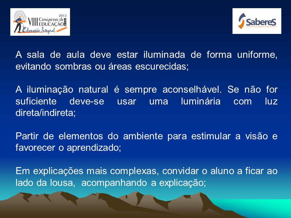 A sala de aula deve estar iluminada de forma uniforme, evitando sombras ou áreas escurecidas;