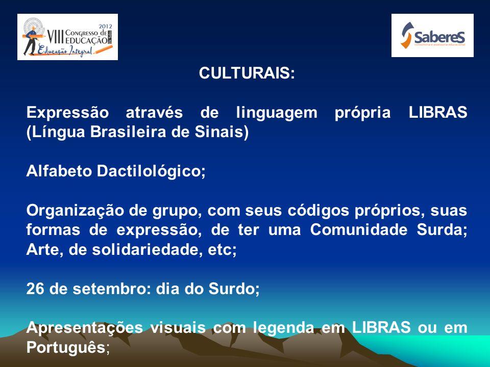 CULTURAIS:Expressão através de linguagem própria LIBRAS (Língua Brasileira de Sinais) Alfabeto Dactilológico;