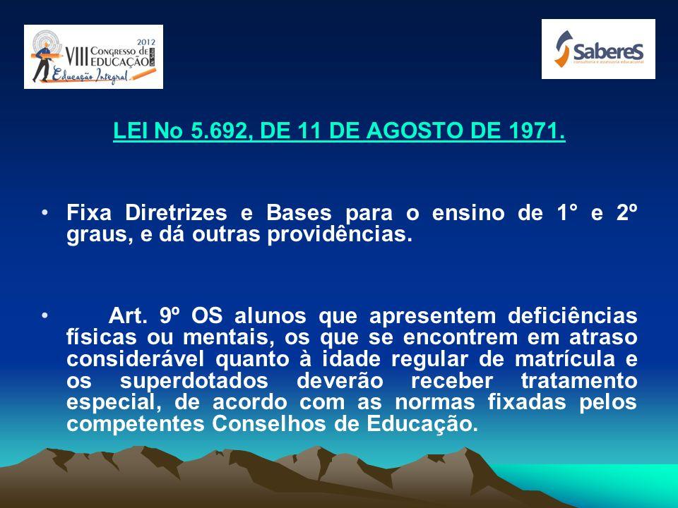LEI No 5.692, DE 11 DE AGOSTO DE 1971. Fixa Diretrizes e Bases para o ensino de 1° e 2º graus, e dá outras providências.