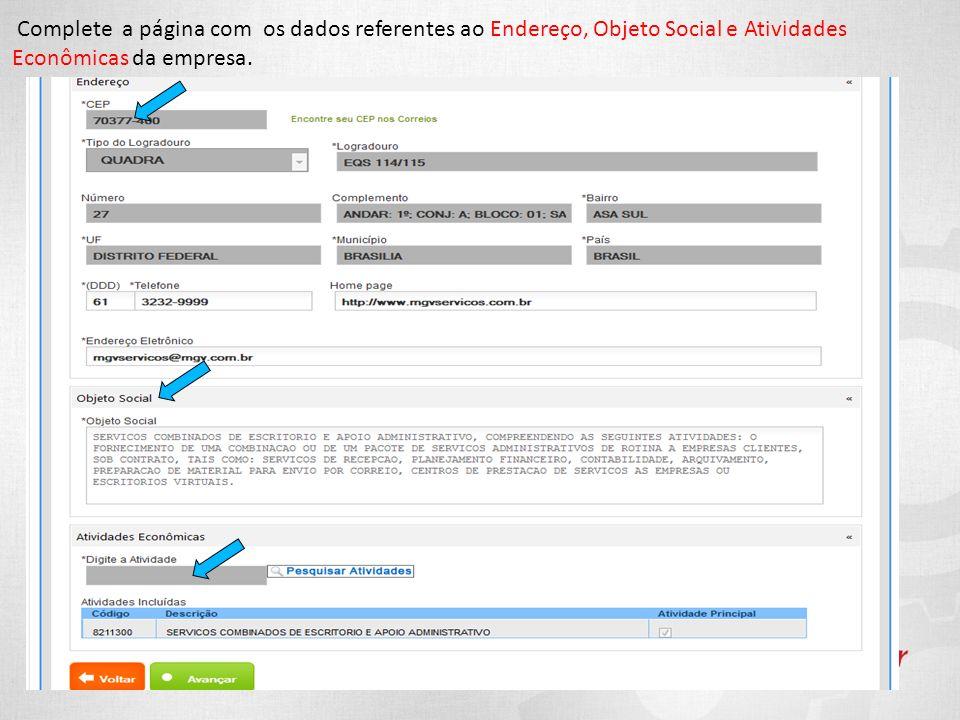 Complete a página com os dados referentes ao Endereço, Objeto Social e Atividades Econômicas da empresa.