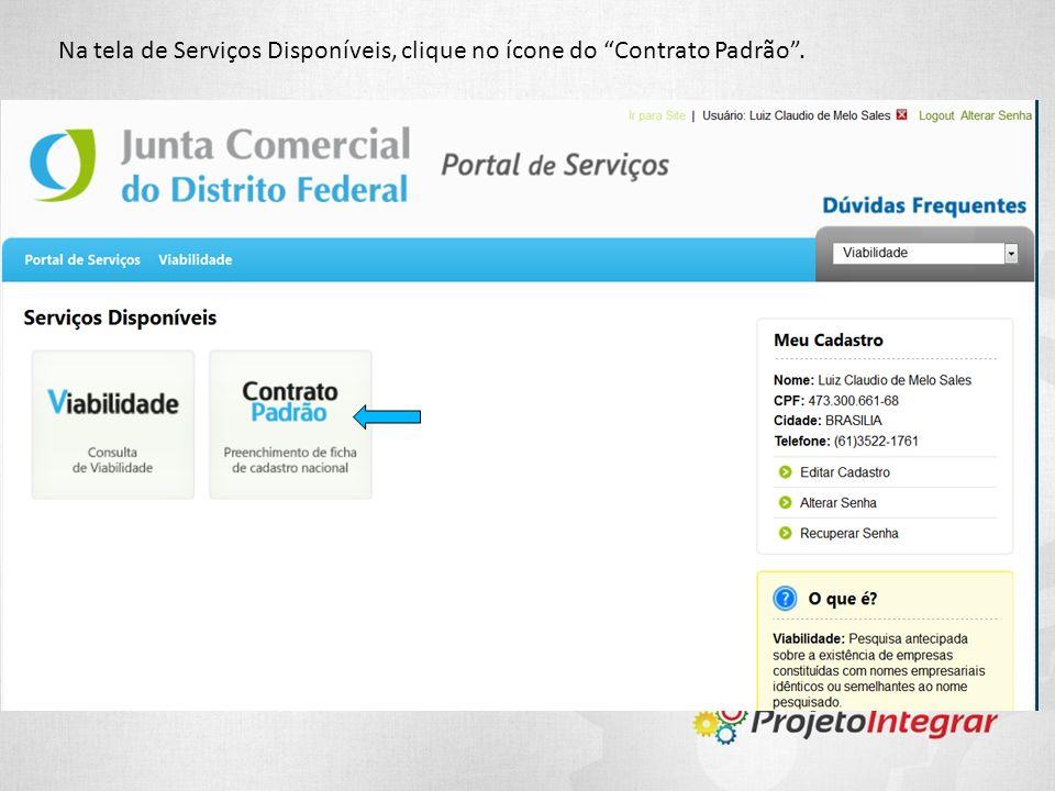 Na tela de Serviços Disponíveis, clique no ícone do Contrato Padrão .