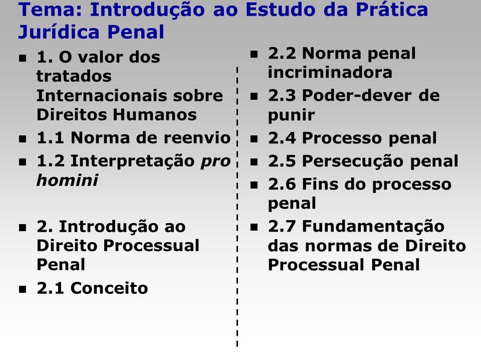 Tema: Introdução ao Estudo da Prática Jurídica Penal