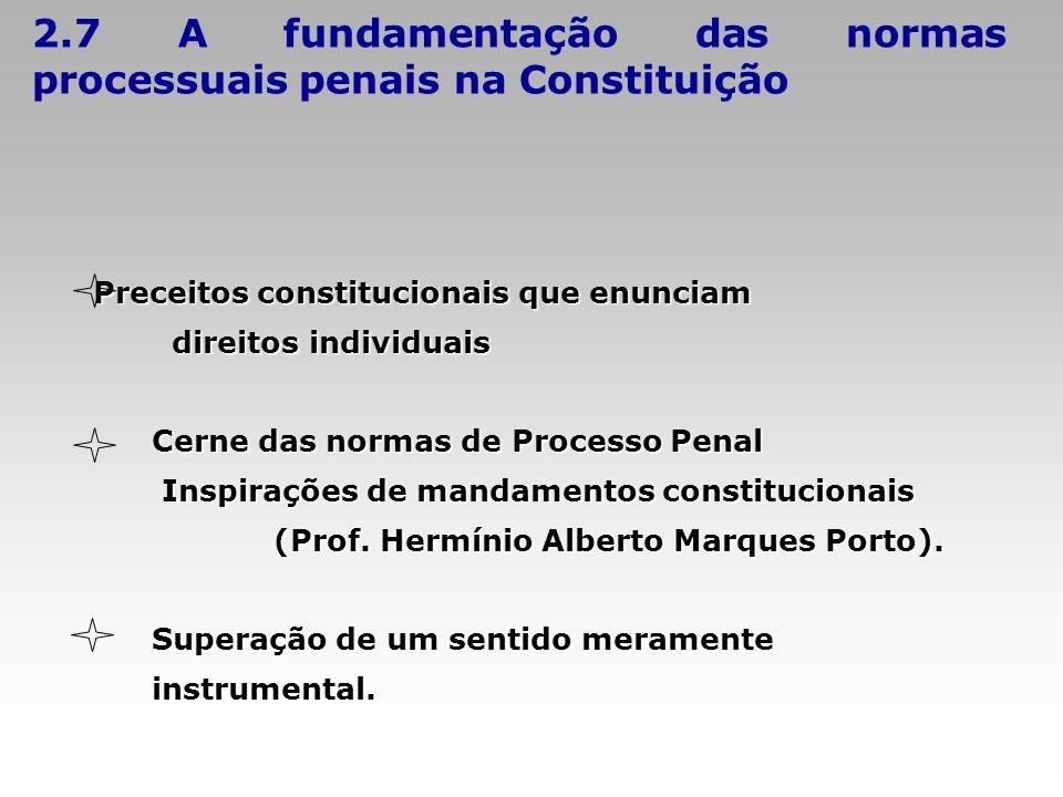 2.7 A fundamentação das normas processuais penais na Constituição
