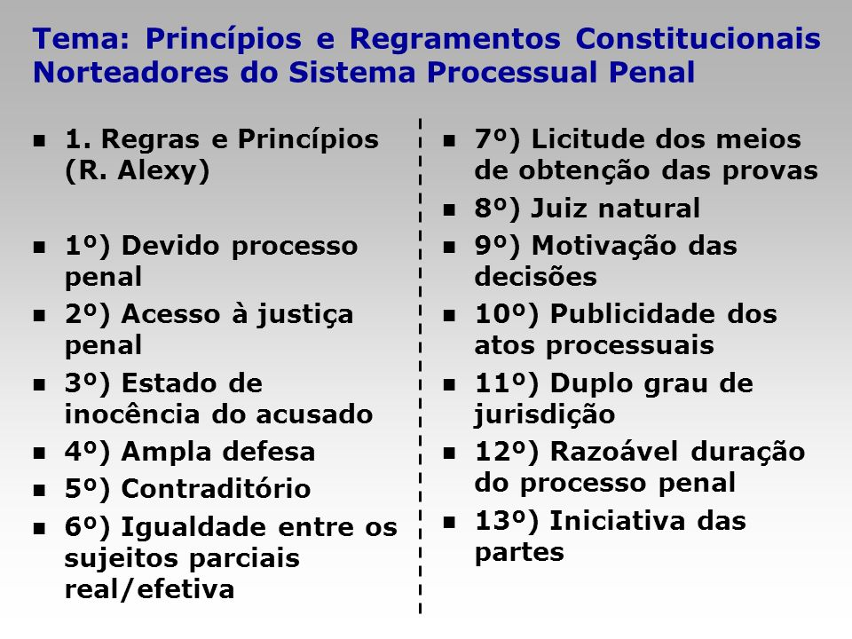Tema: Princípios e Regramentos Constitucionais Norteadores do Sistema Processual Penal