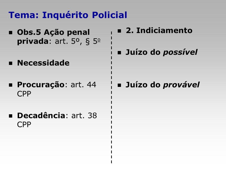 Tema: Inquérito Policial