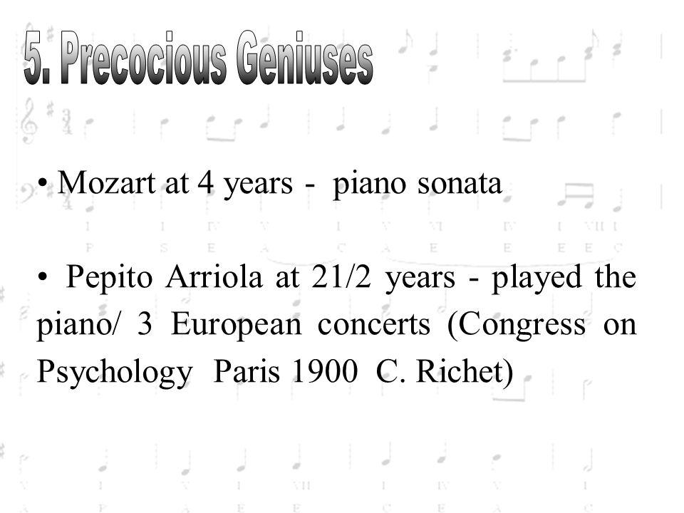 5. Precocious Geniuses Mozart at 4 years - piano sonata.