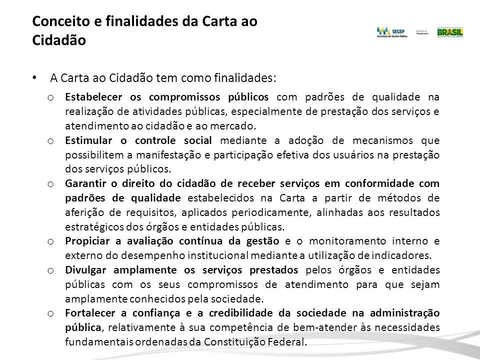 Conceito e finalidades da Carta ao Cidadão