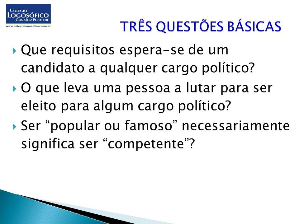 TRÊS QUESTÕES BÁSICAS Que requisitos espera-se de um candidato a qualquer cargo político