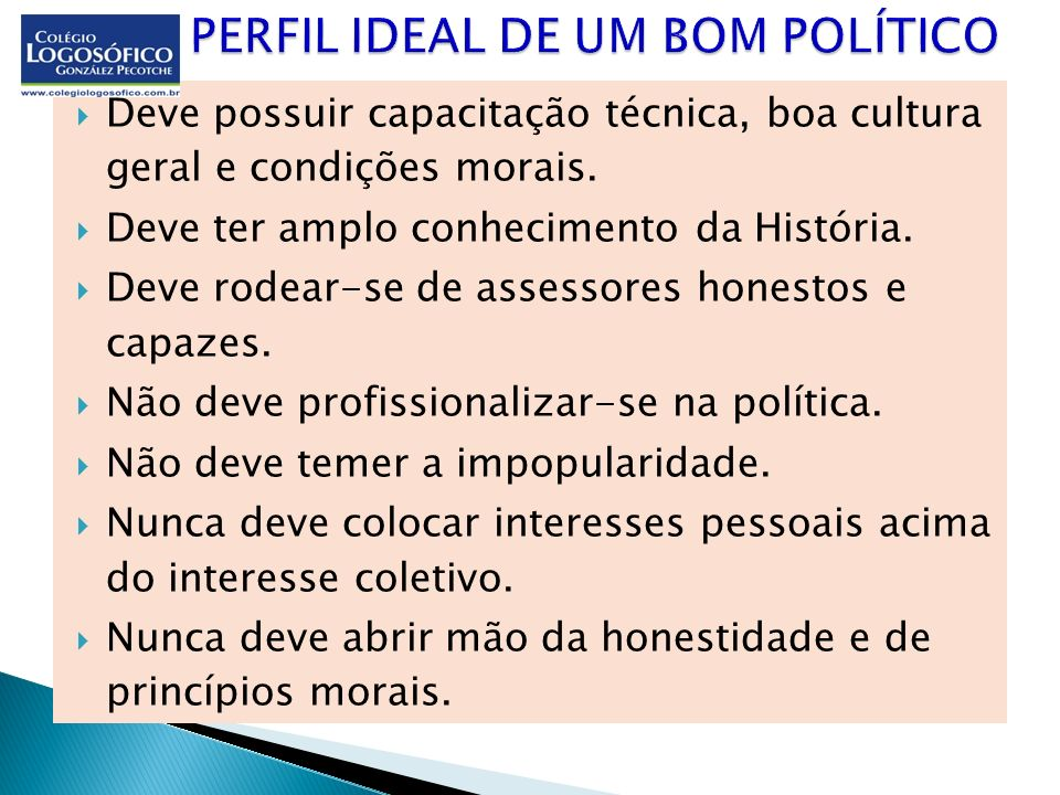 PERFIL IDEAL DE UM BOM POLÍTICO